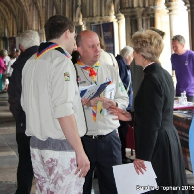 Carl (ADC 2018) and Tony (ACC Cubs) promoting Scouting at Norwich Cathedral volunteering event