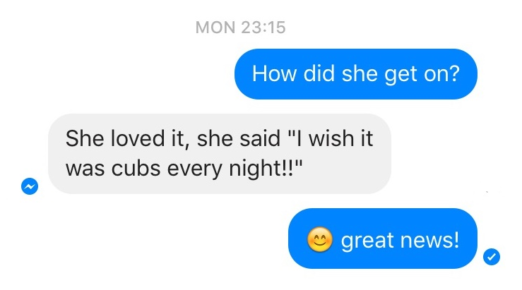 The reason why we do it, a message from Scarlett's mum. Scarlett joined Cubs last Monday :)