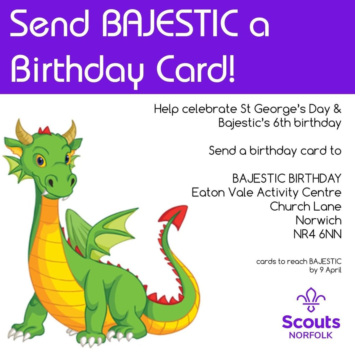 Bajestic the Dragon Birthday Cards